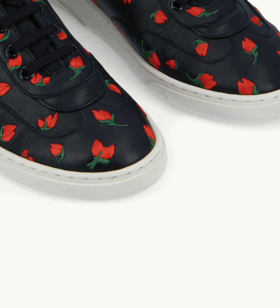 FREE LANCE Embroidered sneaker - Ren - Nappa lambskin leather - Black/Red