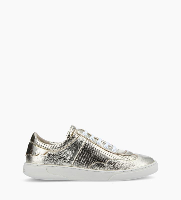 FREE LANCE Sneaker - Ren - Cuir métallisé froissé - Or