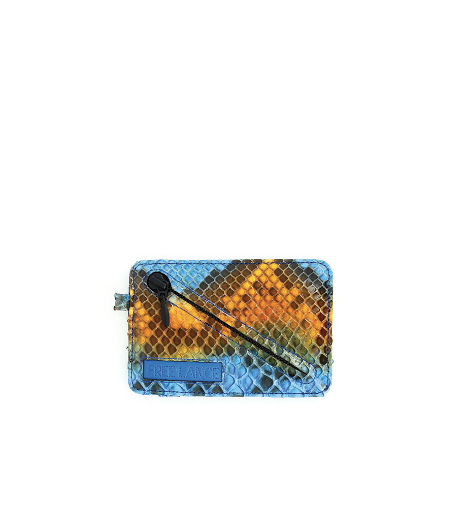 PORTE CARTE ZIP - PYTHON VIVIENNE - BLEU/ORANGE