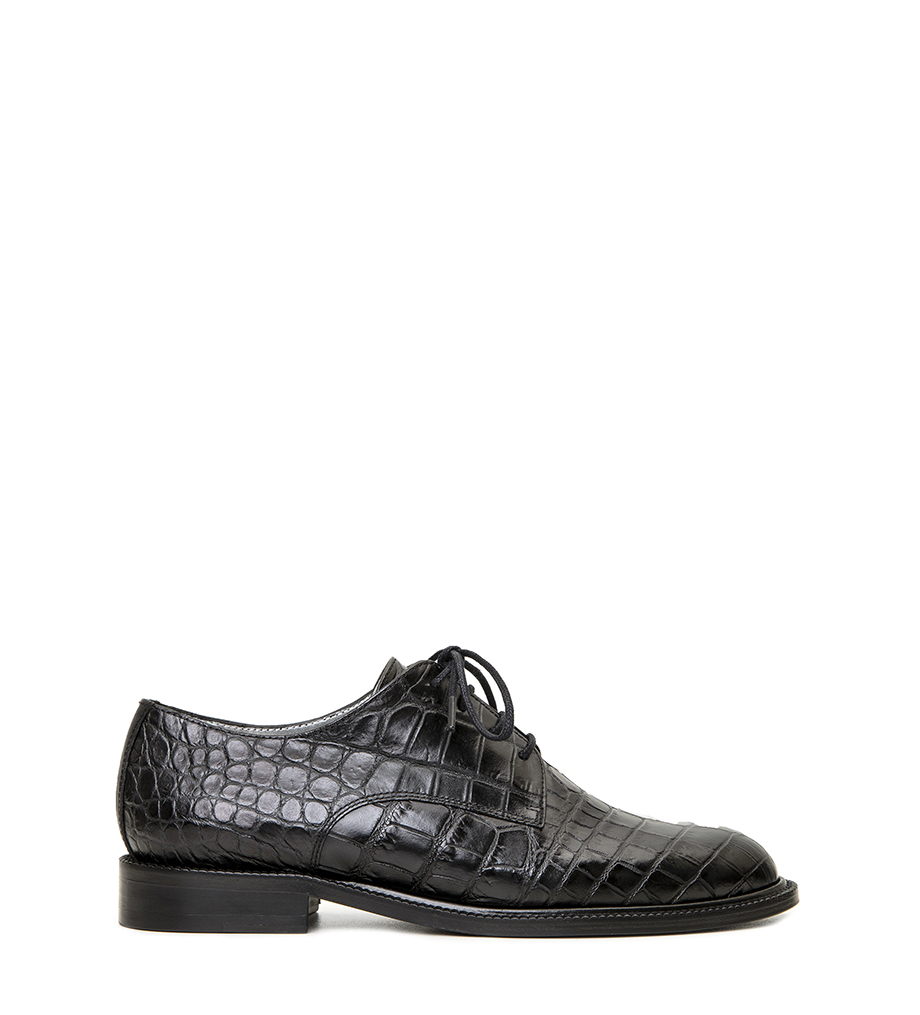 DRIVER LOGO DERBY - CROCO FIRST - NOIR