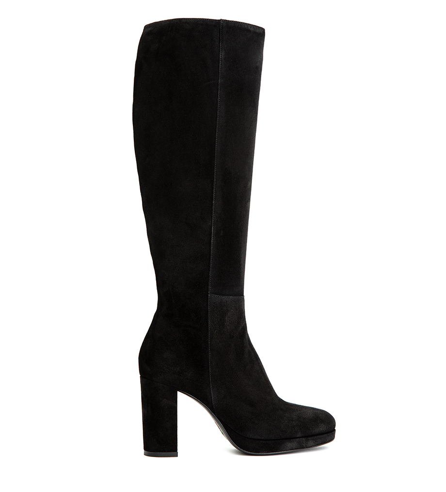 ELFIE 7 ZIP BOTTE - VEAU VELOURS - NOIR