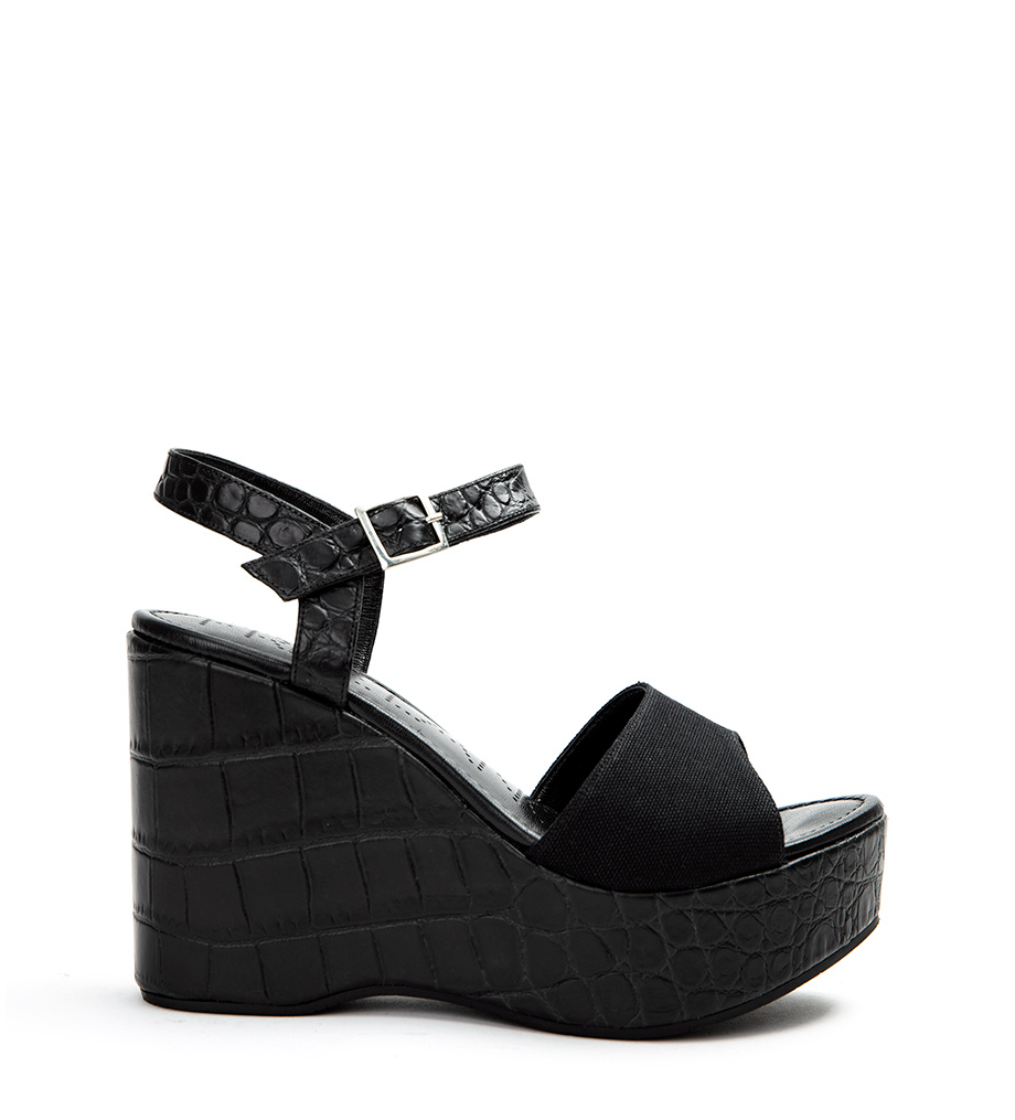 ALBY 7 WEDGE SANDAL - CROCOFIR/CANVAS - NOIR/NOIR