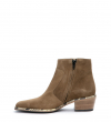 LIME 5 ZIP BOOT - CUIR VELOURS/SNAKE PRINT - TAUPE/NATUREL