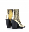 Jane 9 Zip Boot - Cuir Metal Crack - Gold
