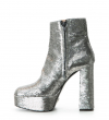 Maddie 9 Fabric Piping Zip Boot - Sequins/Cuir Metal - Argent