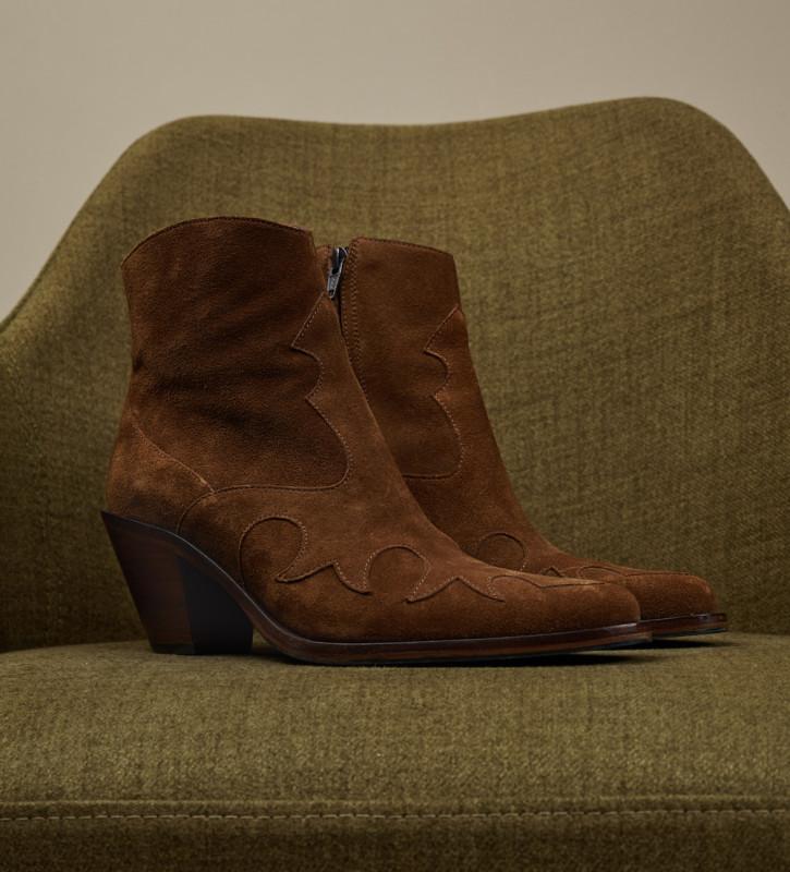 FREE LANCE Jane 7 Western Zip Boot - Cuir Velours - Tabac
