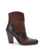 Jane 9 Western Zip Boot - Poil/Crocofirst - Marron / Marron Fonce / Noir