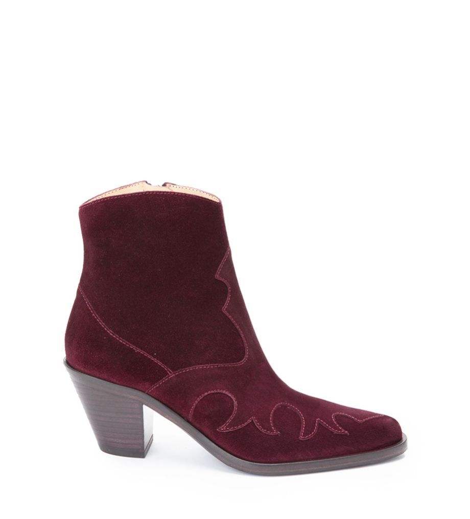 Jane 7 Western Zip Boot - Cuir Velours - Purple Wine