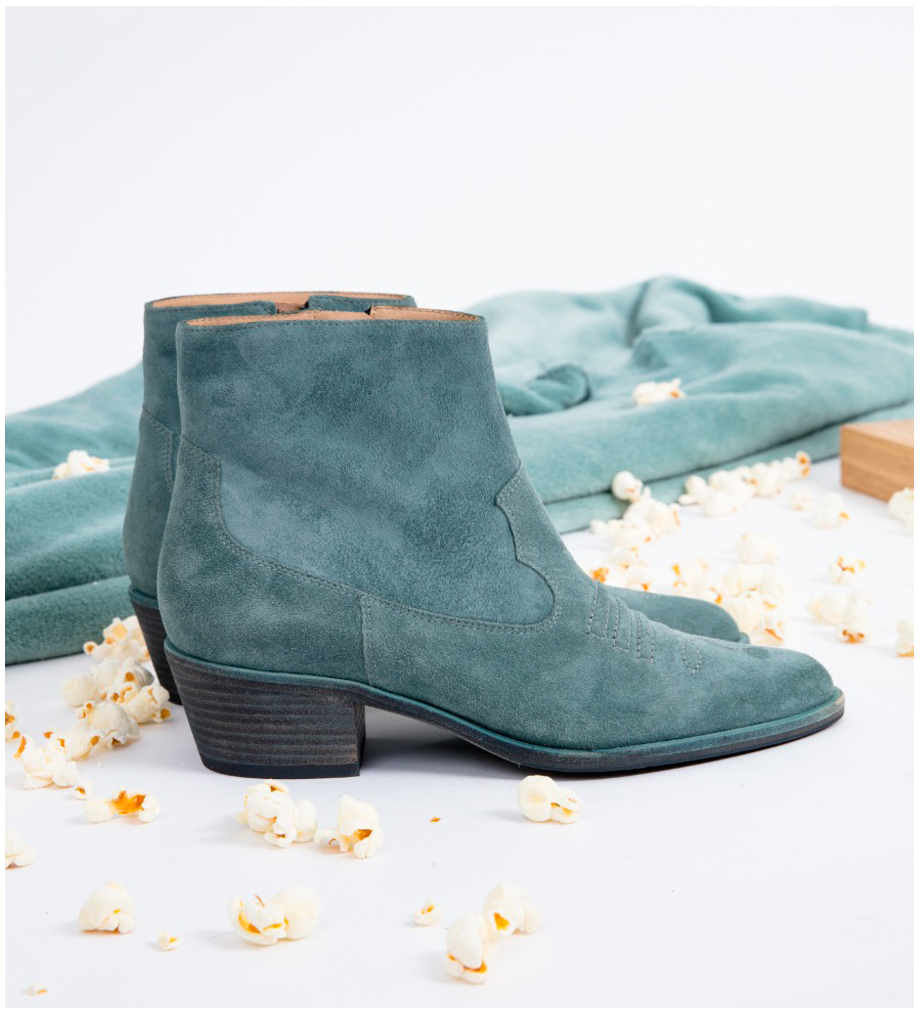 JANE 5 WEST ZIP BOOTS - CUIR VELOURS - STONE