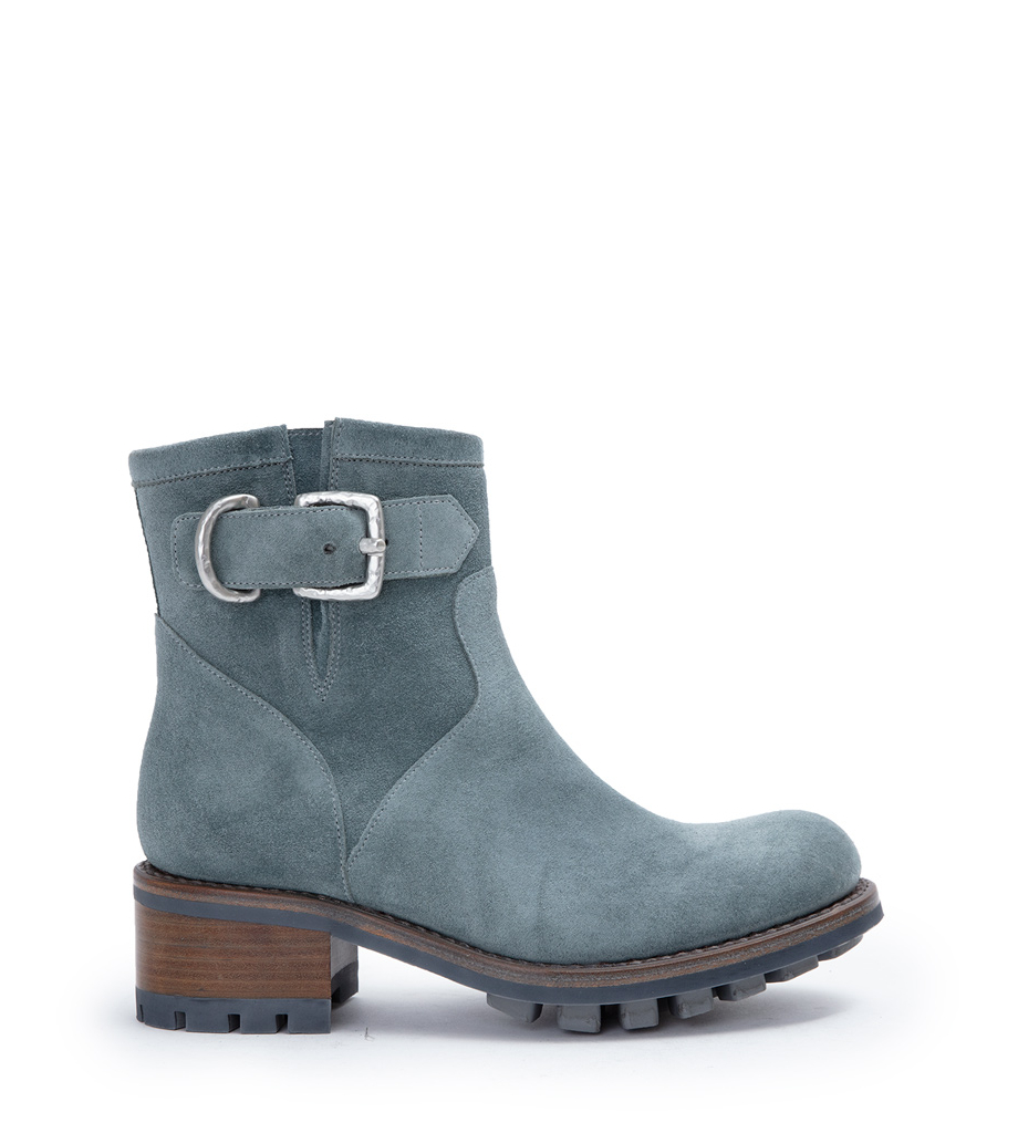 JUSTY 4 SMALL GERO BUCKLE - CUIR VELOURS - STONE