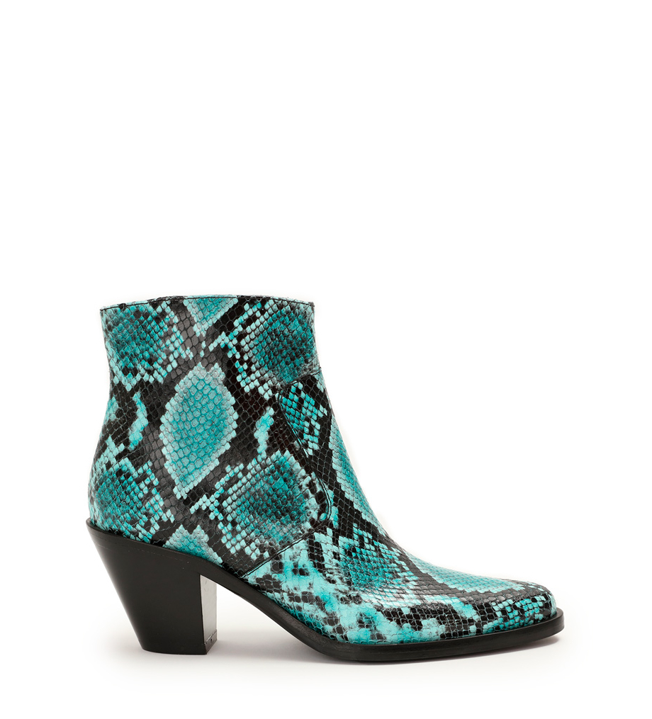 JANE 7 ZIP BOOTS - SNAKE PRINT - POOL