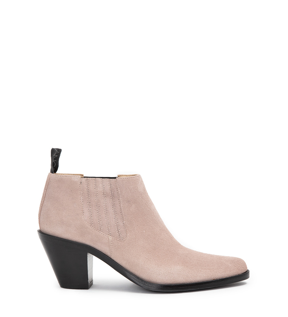 JANE 7 LOW CHELSEA BOOTS - CUIR VELOURS - NUDE