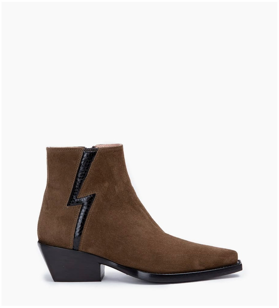 Calamity 4 Stardust Zip Boots - Cuir Velours/Snake - Army/Noir