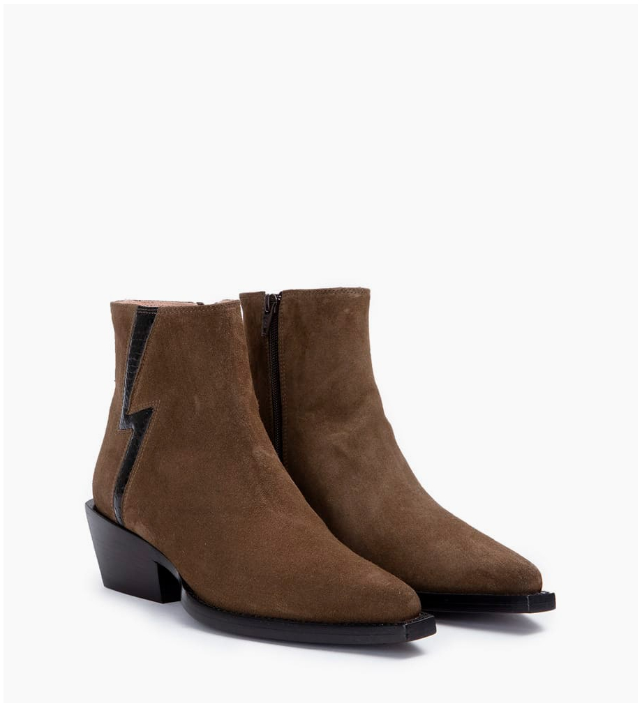 FREE LANCE Calamity 4 Stardust Zip Boots - Cuir Velours/Snake - Army/Noir