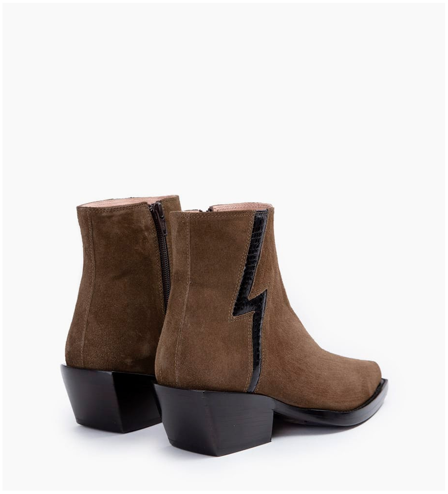Eshop FREE LANCE Calamity 4 Stardust Zip Boots - Cuir Velours/Snake - Army/Noir