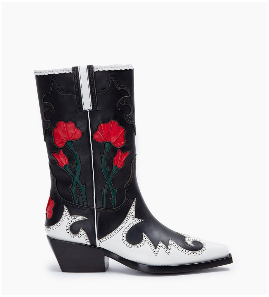 Calamity 4 West Rose Boots - Veau Lisse/Nappa - Noir/Blanc/Cherry/Forest