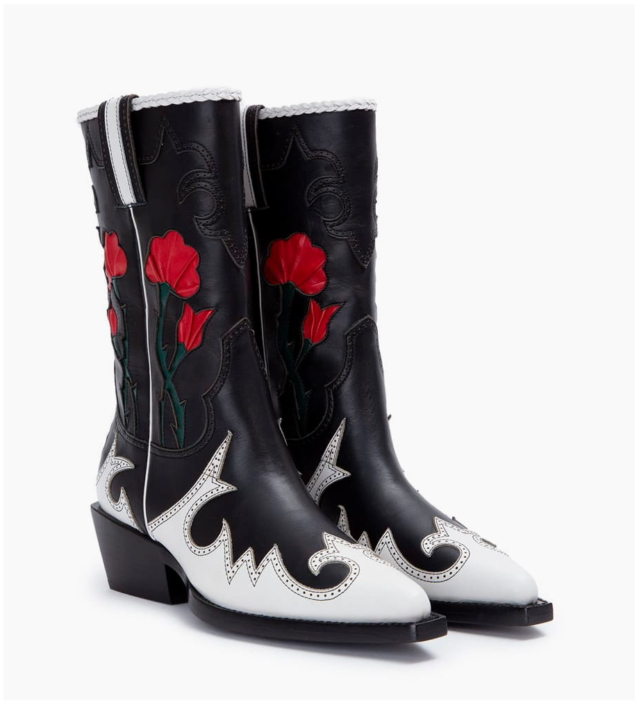 FREE LANCE Calamity 4 West Rose Boots - Veau Lisse/Nappa - Noir/Blanc/Cherry/Forest