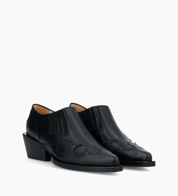 FREE LANCE Calamity West Low Boots - Veau Lisse Mat - Noir