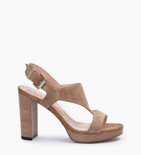 ELANY 7 T STRAP SANDALS - CUIR VELOURS - TAUPE