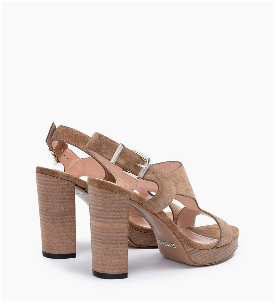 FREE LANCE ELANY 7 T STRAP SANDALES - CUIR VELOURS - TAUPE