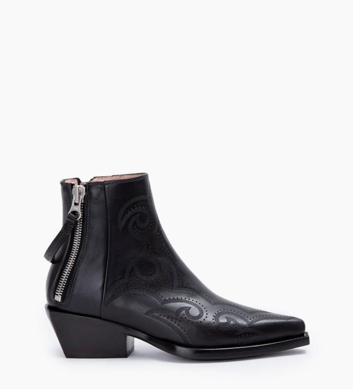 Calamity 4 West Double Zip Boots - Veau Lisse Mat - Noir