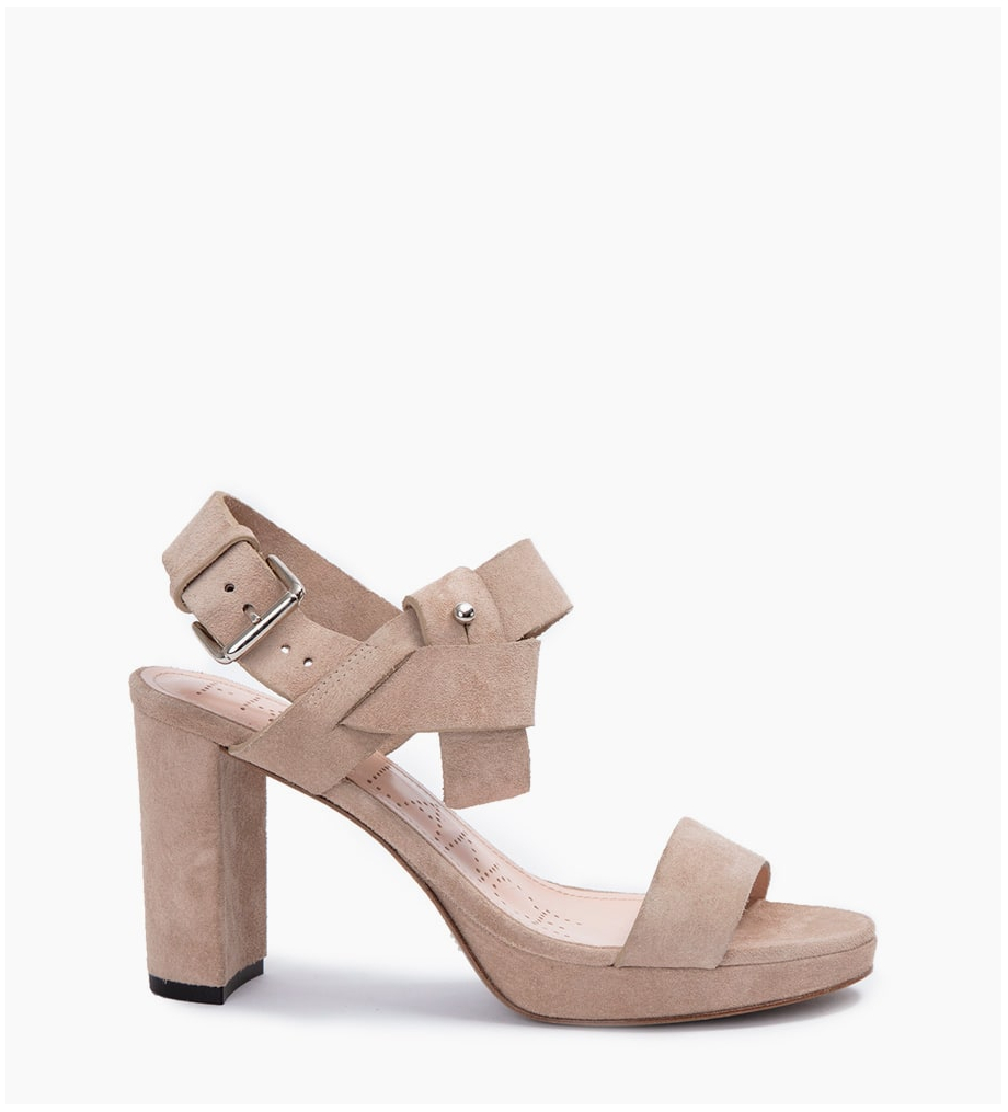 FREE LANCE ELISA 4 STRAP BUCKLE SANDALES - CUIR VELOURS - CAPPUCCINO
