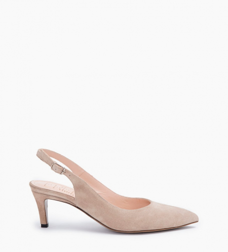 ITLYS 4 SLING BACK PUMPS - CUIR VELOURS - CAPPUCCINO