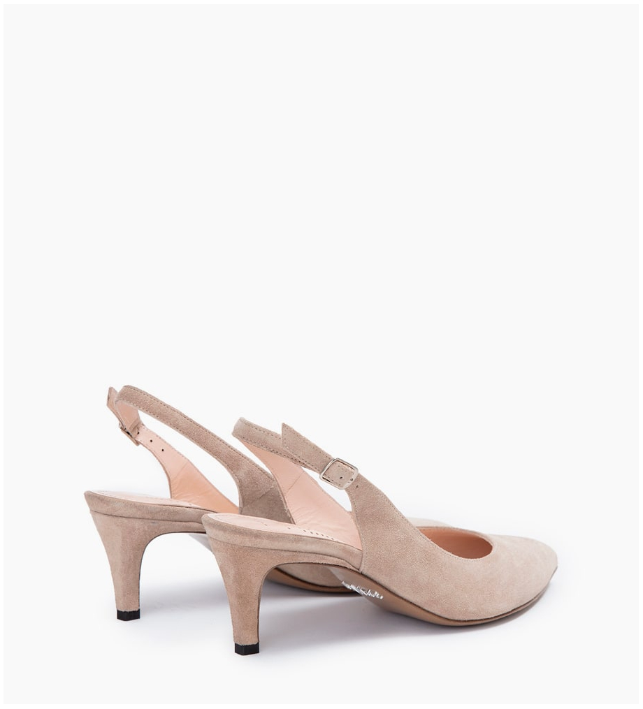 FREE LANCE ITLYS 4 SLING BACK PUMPS - CUIR VELOURS - CAPPUCCINO