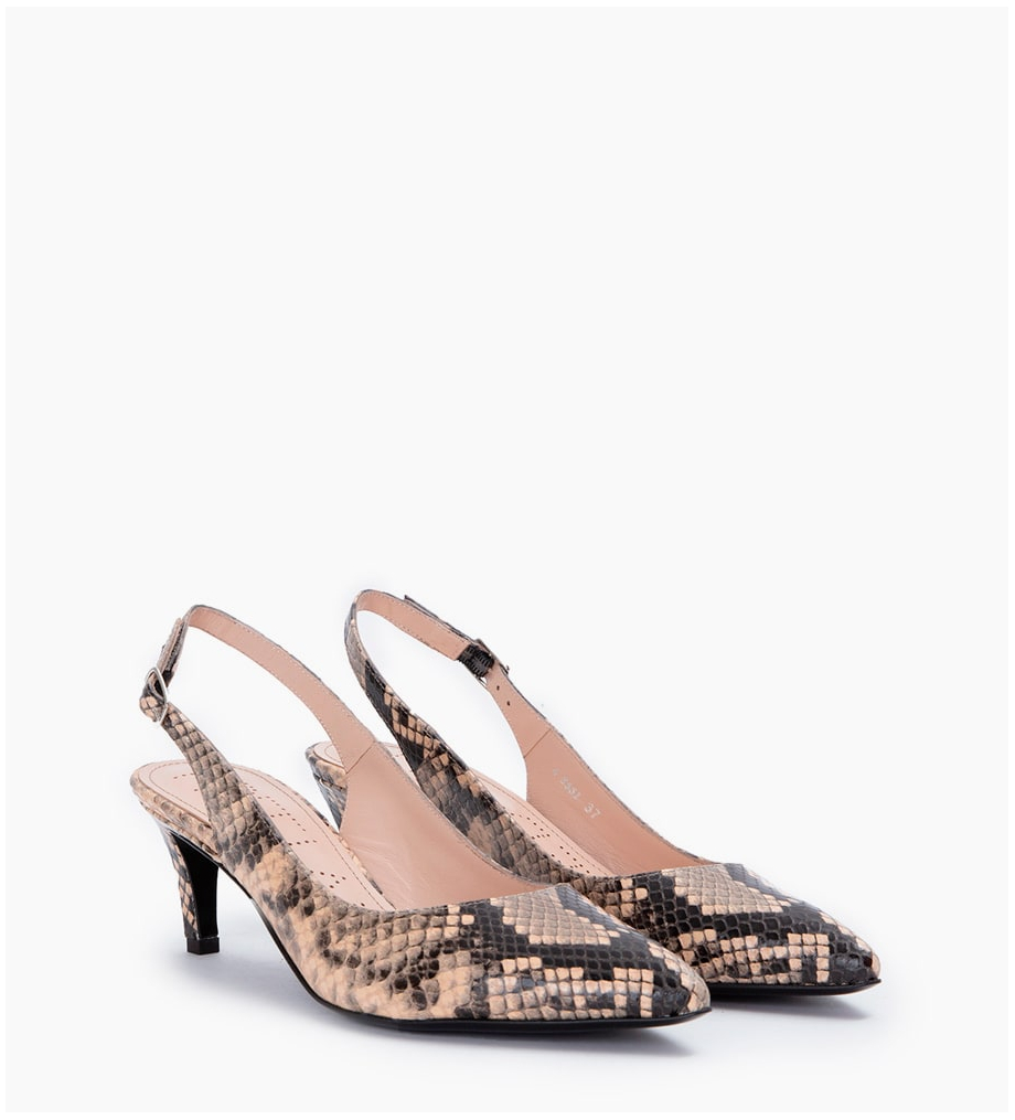 ITLYS 4 SLING BACK PUMPS - SNAKE PRINT - SABLE