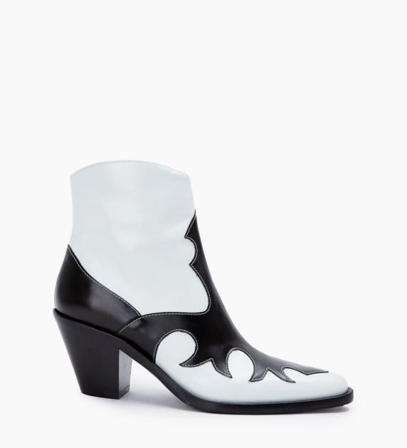 Jane 7 West Zip Boots - Cuir Nappa - Noir/Blanc