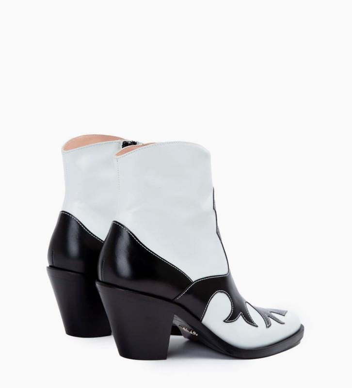 FREE LANCE Jane 7 West Zip Boots - Cuir Nappa - Noir/Blanc