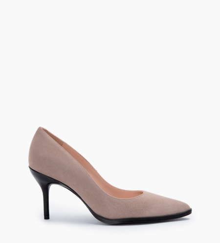 Pump with pointed toe and stiletto heel JAMIE 7 - Suede goat leather - Beige