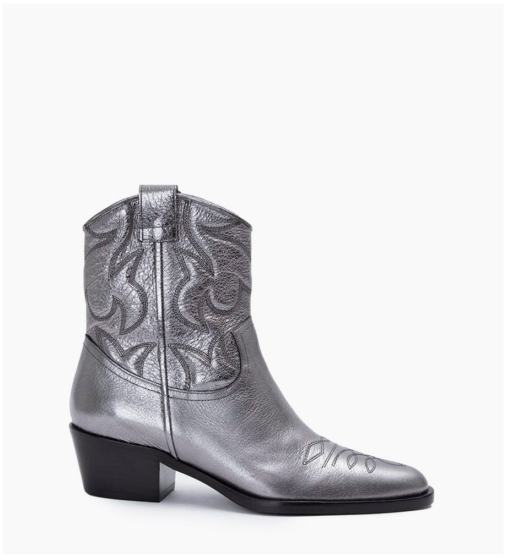 Jane 5 Western Broderie Zip Boots - Cuir Grainé Végétal - Argent