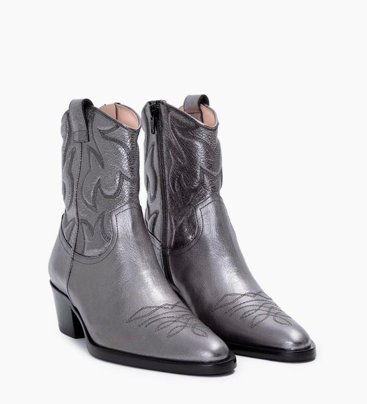 Eshop FREE LANCE Jane 5 Western Broderie Zip Boots - Cuir Grainé Végétal - Argent