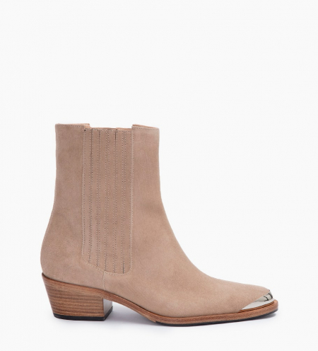 JANE 5 MÉTAL HIGH CHELSEA BOOTS - CUIR VELOURS - CAPPUCCINO