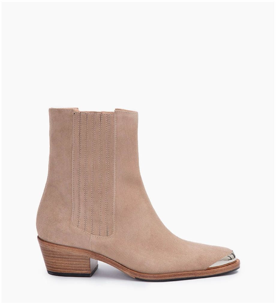 FREE LANCE JANE 5 MÉTAL HIGH CHELSEA BOOTS - CUIR VELOURS - CAPPUCCINO