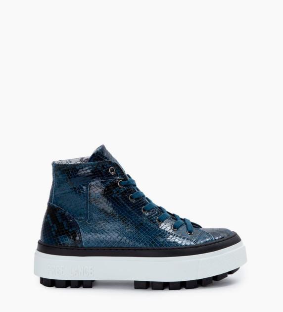 Nakano Hi Top Sneakers - Snake Print - Bleu Nuit