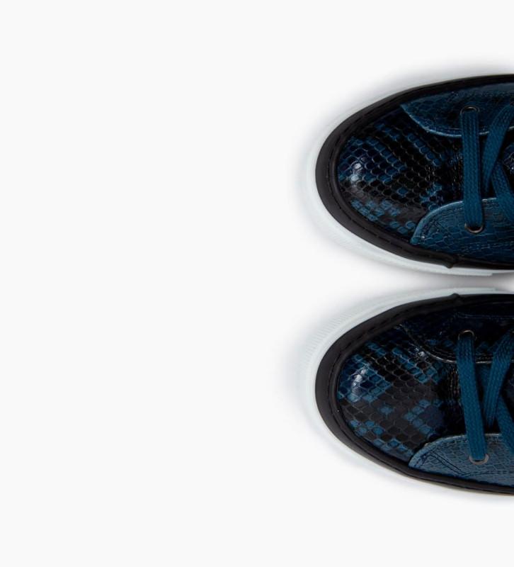 FREE LANCE Nakano Hi Top Sneakers - Snake Print - Bleu Nuit