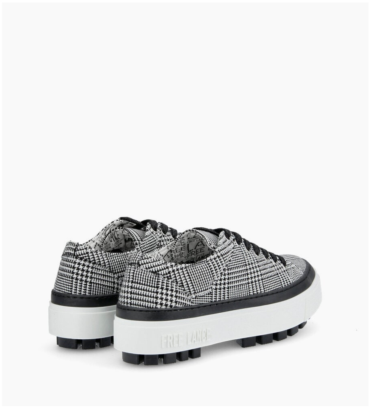 Eshop FREE LANCE Nakano Low Top Sneakers - Prince De Galles - Noir/Blanc