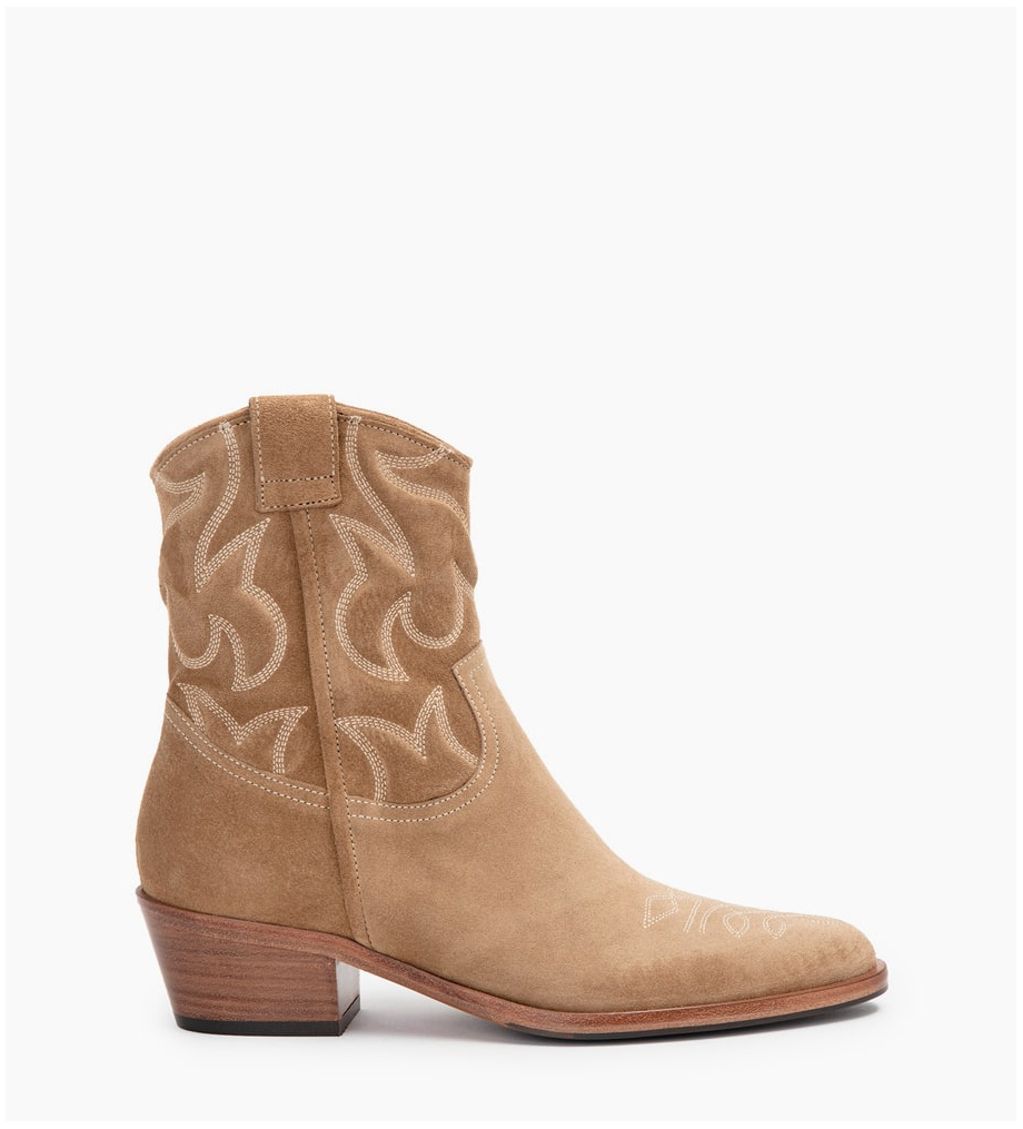 JANE 5 WESTERN BRODERIES BOOTS - CUIR VELOURS - TAUPE