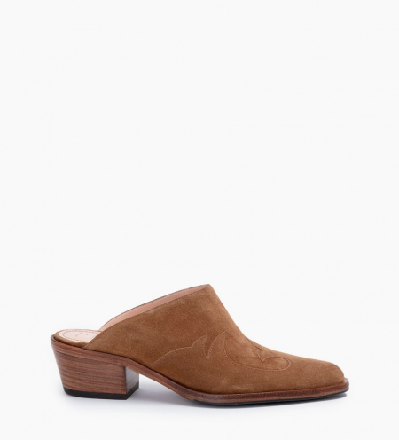 JANE 5 WEST CLOG - CUIR VELOURS - CIGARE