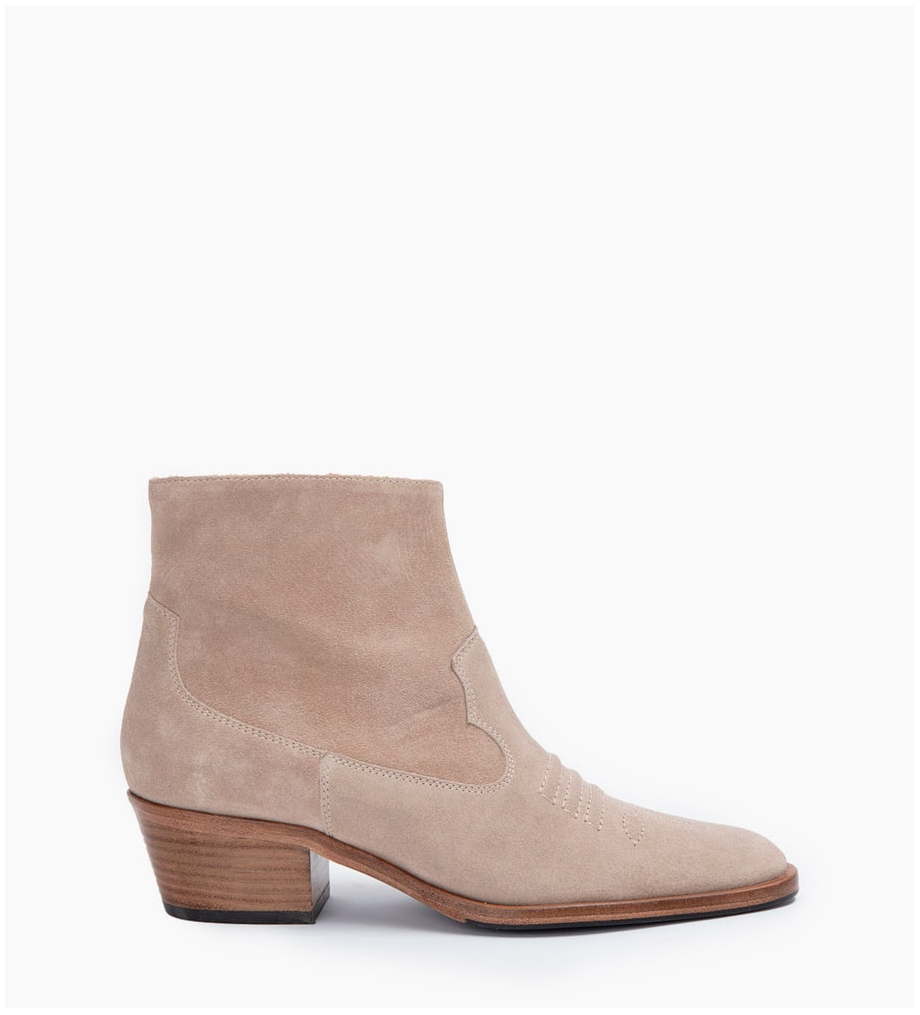 FREE LANCE JANE 5 WEST ZIP BOOTS - CUIR VELOURS - CAPPUCCINO