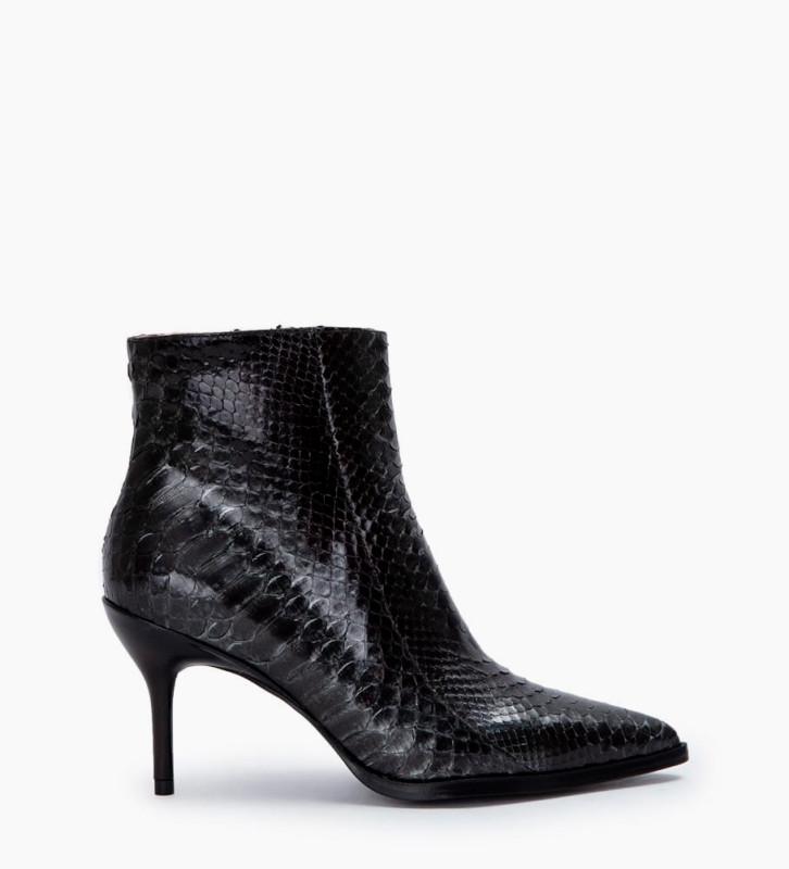 Jamie 7 Snake Zip Boots - Python/Veau Lisse Brillant - Caviar/Noir