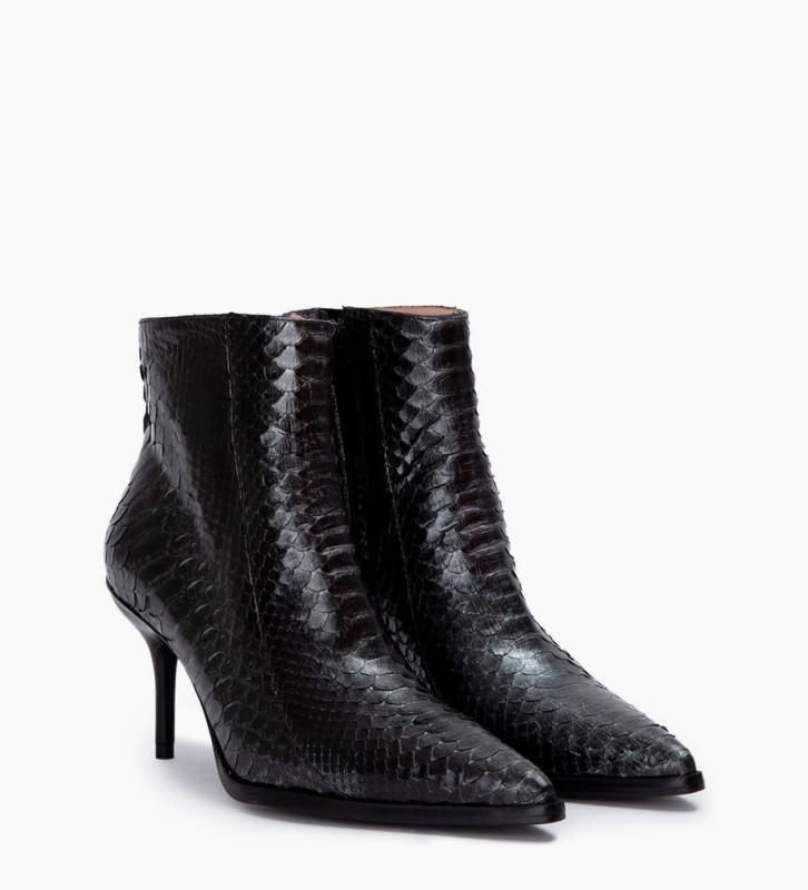 FREE LANCE Jamie 7 Snake Zip Boots - Python/Veau Lisse Brillant - Caviar/Noir