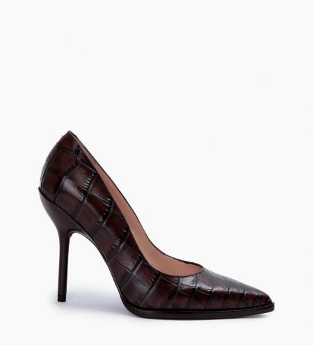 Pump with pointed toe and stiletto heel JAMIE 10 - Croco embossed leather/Nappa leather - Dark brown