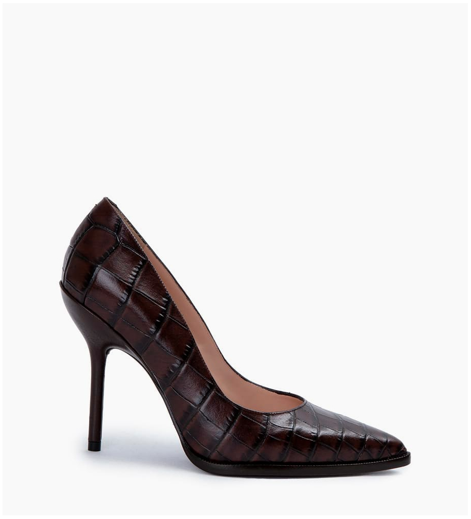 Jamie 10 Pumps - Croco/Cuir Nappa - Coffee/Truffe