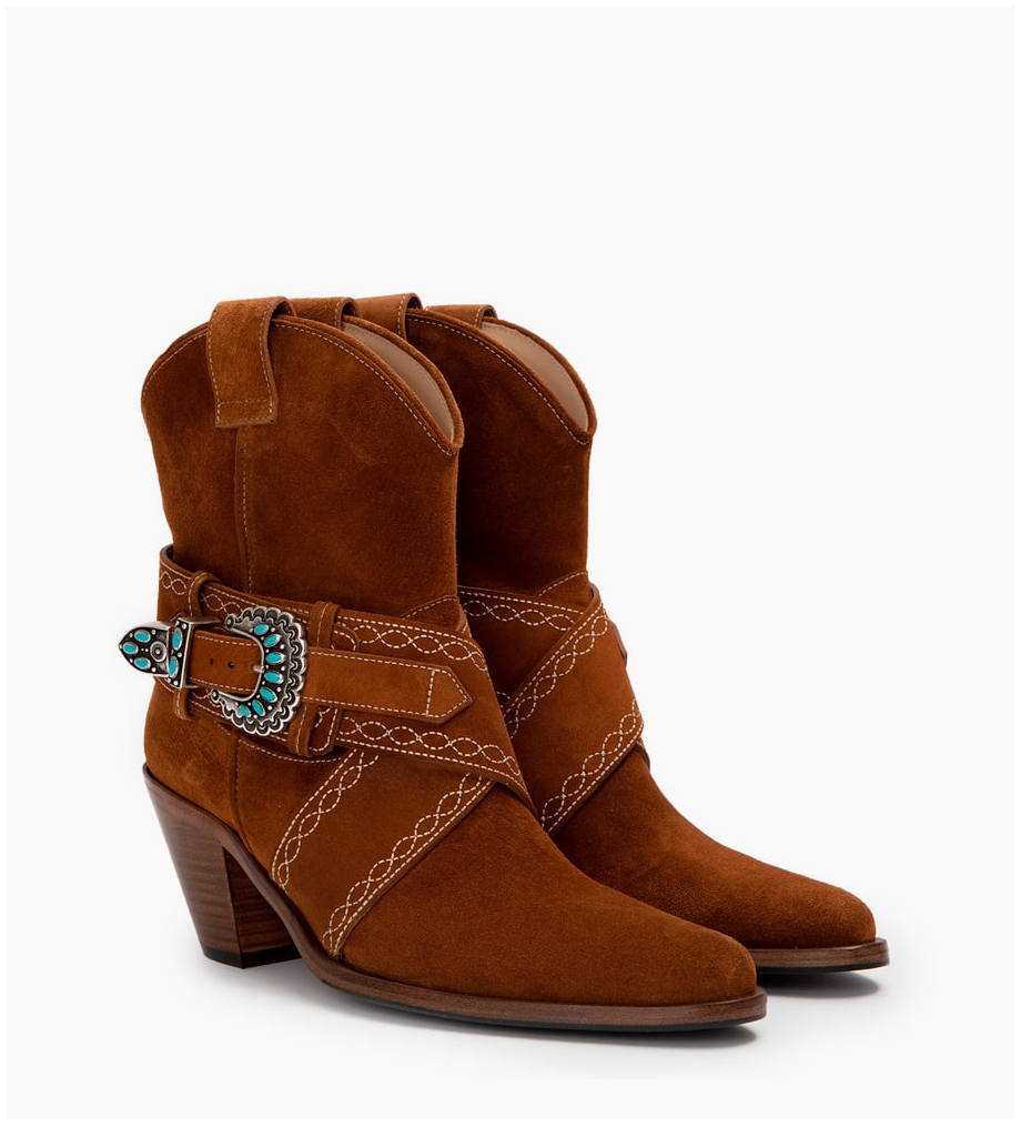 FREE LANCE JANE 7 HARNAIS WEST BOOTS - CUIR VELOURS - TABAC FIL BEIGE