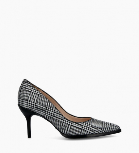Jamie 7 Fabric Piping Pumps - Prince De Galles/Cuir Nappa - Noir/Blanc