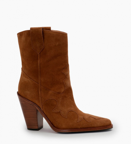 Jane 9 Western Mid Boots - Cuir Velours - Cigare