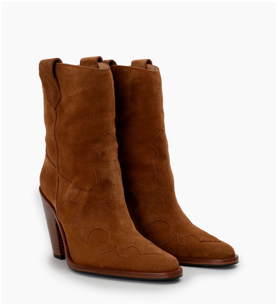 FREE LANCE Jane 9 Western Mid Boots - Cuir Velours - Cigare